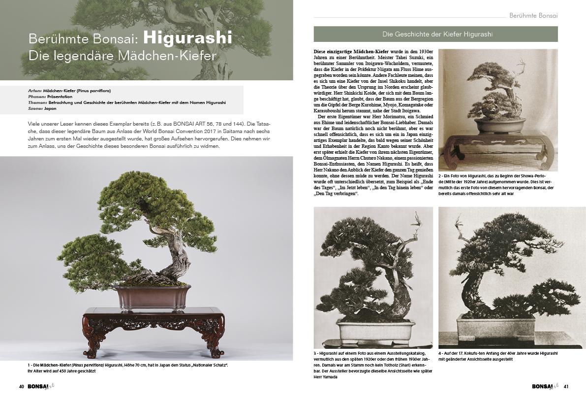 Berühmte Bonsai: Higurashi. Die legendäre Mädchen-Kiefer in der BONSAI ART 152